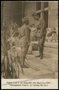 Austria WWI Kaiser Karl Franz Joseph Oberleutnant  Fischer Successor  RPPC 65709