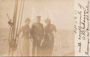 Passengers on SS 'Victoria' Two Women & Man A. Johansen c1907 RPPC Postcard F40