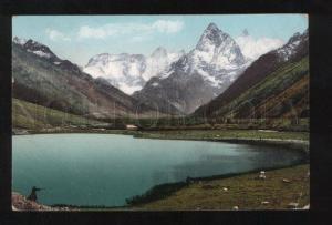 056342 CAUCASUS Military Suhum road Lake Tumani-Kel Vintage PC