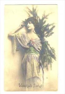 RP  Woman holding pine tree trimmings, Wesotych Swiat!, PU-1923   POLAND