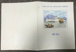 Compagnie des Messageries Maritimes CAMODGE, Dinner Menu, 1954
