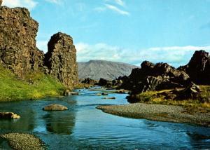 Iceland Thingvellir The Almannagja Cleft and River Oxara