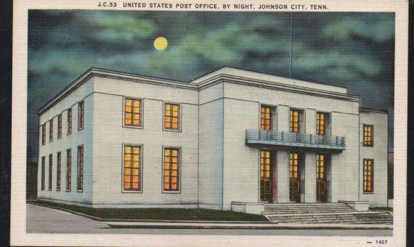 Tennessee colour PC Night View US Post Office Johnson City unused