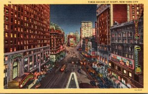 New York City Times Square At Night Curteich
