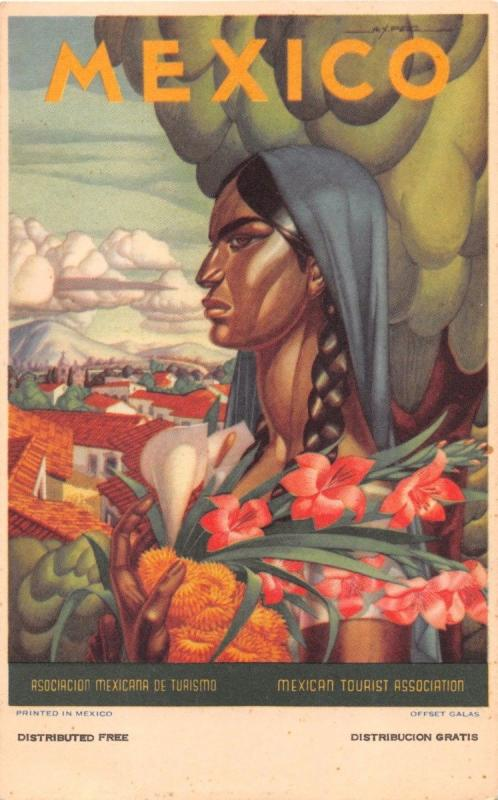 ASSOCIACION MEXICANA de TURISMO GRATIS-MEXICAN INDIAN WOMAN POSTCARD 1940s
