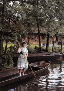 Im Spreewald Woman in Traditional Costume Boats River Schiff