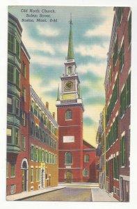 Boston MA Old North Church Salem Street Vtg 1950s Linen Postcard
