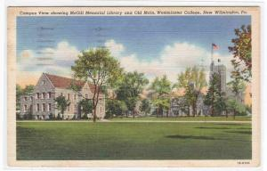 McGill Library Old Main Westminster College New Wilmington Pennsylvania postcard