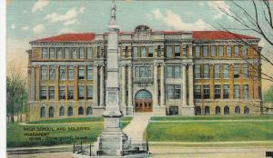 High School and Soldiers' Moument, Davenport, Iowa, PU-1912