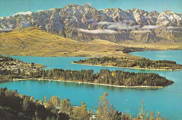 New Zealand Queenstown The Remarkables and Lake Wakatipu South Island