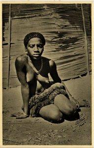 PC CPA ETHNIC NUDE FEMALE GUINEA TYPE GIRL 1934 Vintage Photo Postcard (b611)