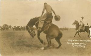 1920s Cheyenne Wyoming Western Cowboy Rodeo Rider RPPC real photo 2650