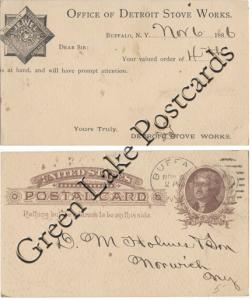 Detroit Stove Works, Buffalo, New York - 1886 Order received