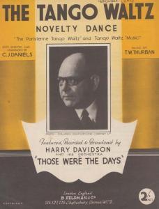 The Tango Waltz Harry Davidson 1940s Sheet Music