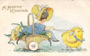 BEB Easter~Chicks Pull Sunday Bonnet Girl~Flower Basket Cart~Bertha Blodget~AMP