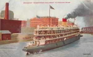 C-1910 Steamship Christopher Columbus Chicago River Hammon postcard 12720