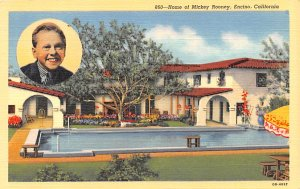 Actor, Movie Star Home Post Card Home of Mickey Rooney Encino, California USA...