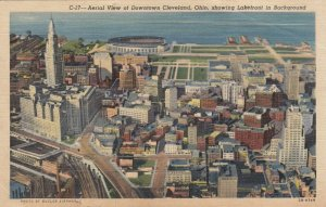CLEVELAND, Ohio, PU-1945; Aerial View of Downtown showing Lakefront