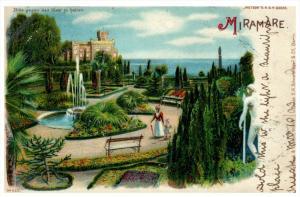 21593 Italy Miramare Castle Gardens 1908 Artist Drawn