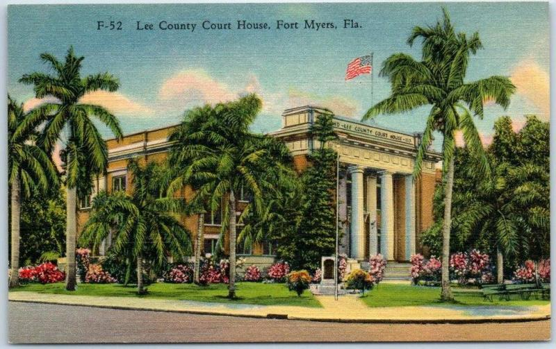 Fort Myers, Florida Postcard Lee County Court House Curteich Linen c1940s