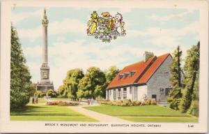 Brock's Monument & Restaurant Queenston Heights Ontario ON UNUSED Postcard D90