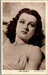 Vintage JOAN BENNETT Photo RPPC Postcard American Movie Actress c1940s Unused