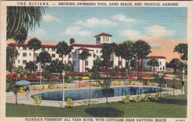 Florida Daytona The Riviera Showing Swimming Pool Sand Beach & Tropical Garde...