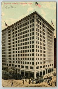 Cleveland Ohio~Engineers Building~Crowd on the Corner~1913 Postcard