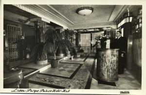 portugal, LISBON LISBOA, Parque Palacio Hotel, Hall (1950s) RPPC