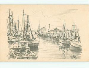 Drawing Boats Ships Jas Mooray Dock Sail Boats  Postcard # 5623