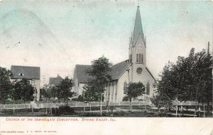 H60/ Spring Valley Illinois Postcard c1910 Church Immaculate Conception 80