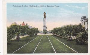 Texas Galveston Picturesque Broadway Boulevard At 25th Street