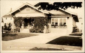 Portland OR Bungalow Fire Station c1930 Real Photo Postcard
