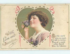 Pre-Linen valentine PRETTY GIRL HOLDS WHITE FLOWERS AGAINST HER FACE HL1493