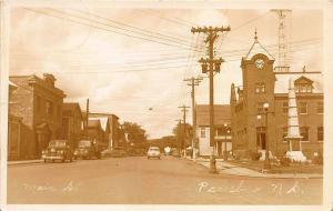 Parrsboro Nova Scotia Main Street View Storefronts Statue RPPC Postcard