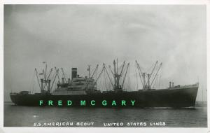 1927 United States Lines S. S. American Scout Real Photo Postcard: Side View