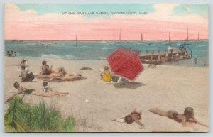 Vineyard Haven MA~Bathing Beauties in Sand~Dock Beach & Harbor~1946 Handcolored