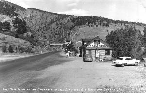 Thompson Canyon CO Conoco Gas Station Old Cars RPPC Real Photo Postcard