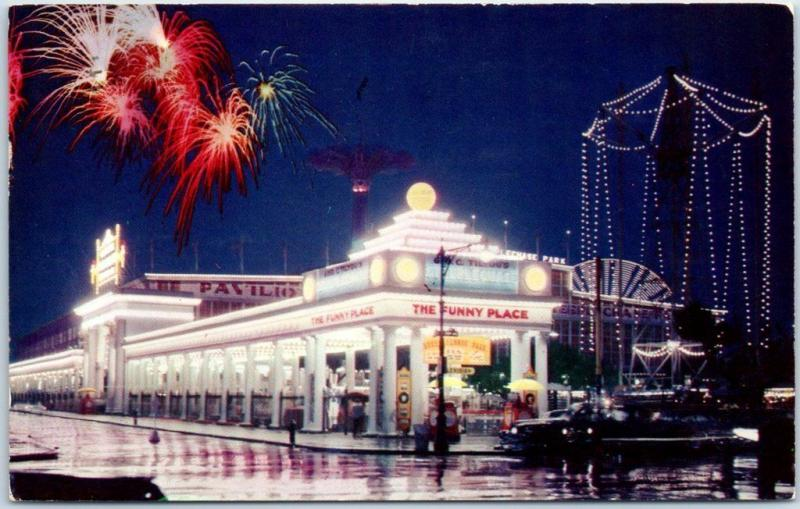 Coney Island NY Postcard Fireworks Scene Street View The Funny Place 1956