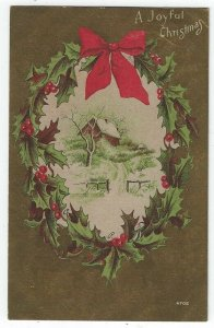 Early Christmas Greeting PC, House on a Hill in Winter, Red Bow, Holly & Berries