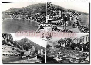 Old Postcard Menton The Promenade General view La Plage Frontiere Franco's It...