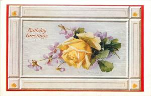 Catherine Klein~Yelloe Rose on Purple Violets~Rosette Corner Frame~1910 Postcard