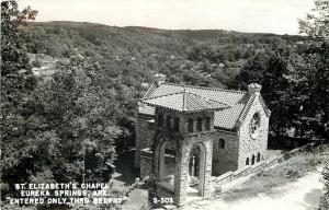 Eureka Springs Arkansas~St Elizabeths Chapel~Belfry Entry~1940s Real Photo~RPPC