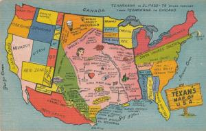 Map of the United States from Texas Persepective - Linen