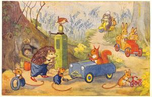 Molly Brett Fantasy~Woodland Garage Dressed Animals Pump Gasoline~Tire~Medici