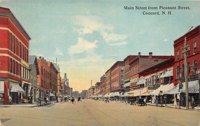 Concord New Hampshire~Main Street @ Pleasant~People along Storefronts~c1910 Pc