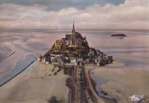 RP; Hand-tinted, MONT SAINT-MICHEL, Vue aerienne, Manche, Basse-Normandie, Fr...