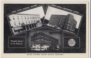 Old GRAND ISLAND Nebraska Nebr Postcard Hotels 3View FRIENDLY N1