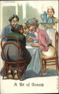 Old Women Around Table Have Tea Talk & Gossip c1910 Postcard  rpx