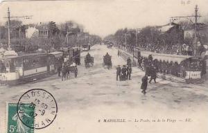 Attached Street Cars, Le Prado, Vu De La Plage, Marseille (Bouches-du-Rhône)...